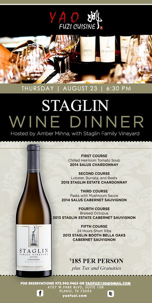 Yao Fuzi Cuisine presents Staglin Wine Dinner Aug 23, 2018 - Best Restaurants in Plano