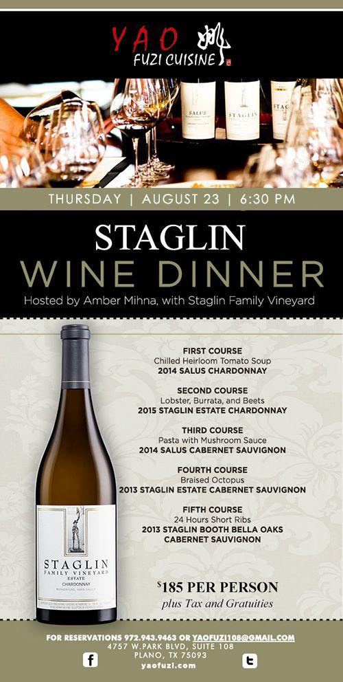 Yao Fuzi Cuisine presents Staglin Wine Dinner Aug 23, 2018 - Best Restaurants in Plano